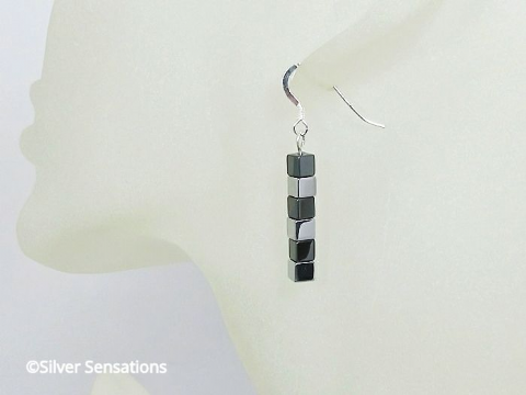Black & Silver Hematite Cube Beaded Earrings With Sterling Silver